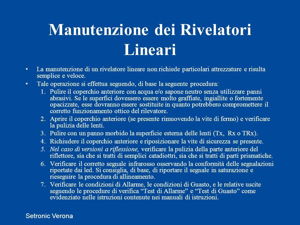 Setronic Verona Manutenzione dei Rivelatori Lineari La manutenzione di un rivelatore lineare non richiede particolari attrezzature e risulta semplice e veloce.