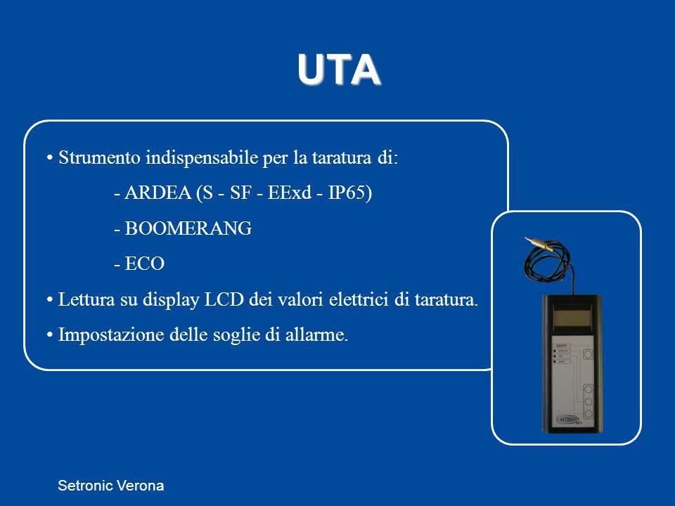 Setronic Verona UTA Strumento indispensabile per la taratura di: - ARDEA (S - SF - EExd - IP65) - BOOMERANG - ECO Lettura su display LCD dei valori elettrici di taratura.