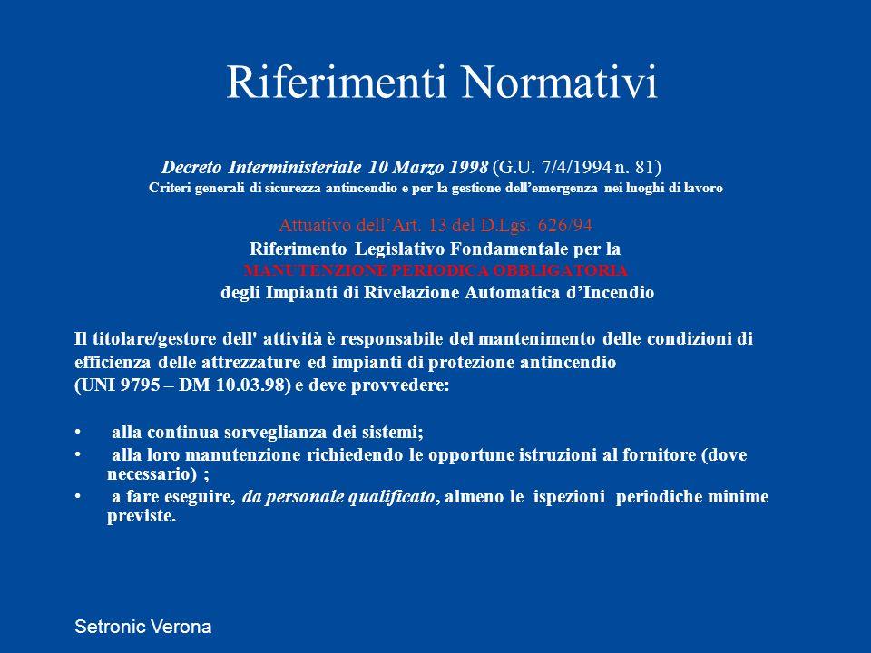 Setronic Verona Riferimenti Normativi Decreto Interministeriale 10 Marzo 1998 (G.U. 7/4/1994 n. 81) Criteri generali di sicurezza antincendio e per la