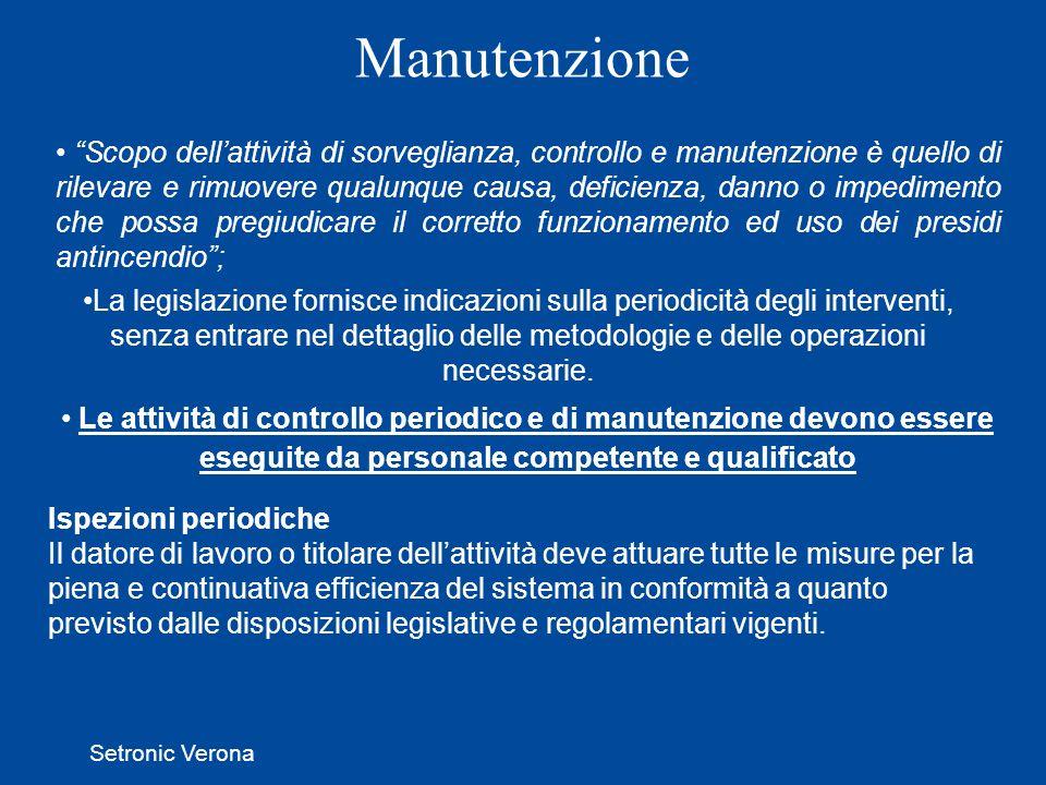 Setronic Verona Manutenzione Ispezioni periodiche Il datore di lavoro o titolare dellattività deve attuare tutte le misure per la piena e continuativa efficienza del sistema in conformità a quanto previsto dalle disposizioni legislative e regolamentari vigenti.