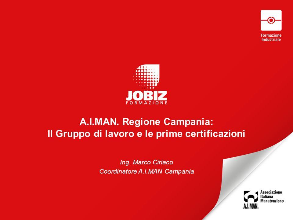 A.I.MAN. Regione Campania: Il Gruppo di lavoro e le prime certificazioni Ing.