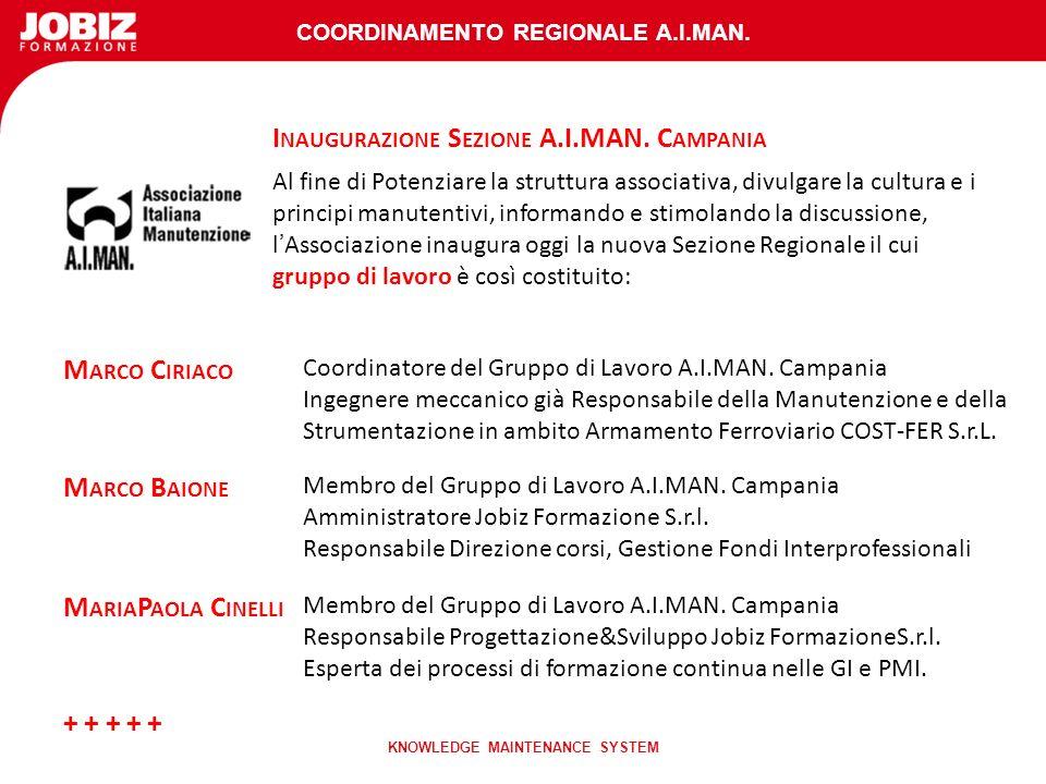 COORDINAMENTO REGIONALE A.I.MAN. KNOWLEDGE MAINTENANCE SYSTEM I NAUGURAZIONE S EZIONE A.I.MAN.