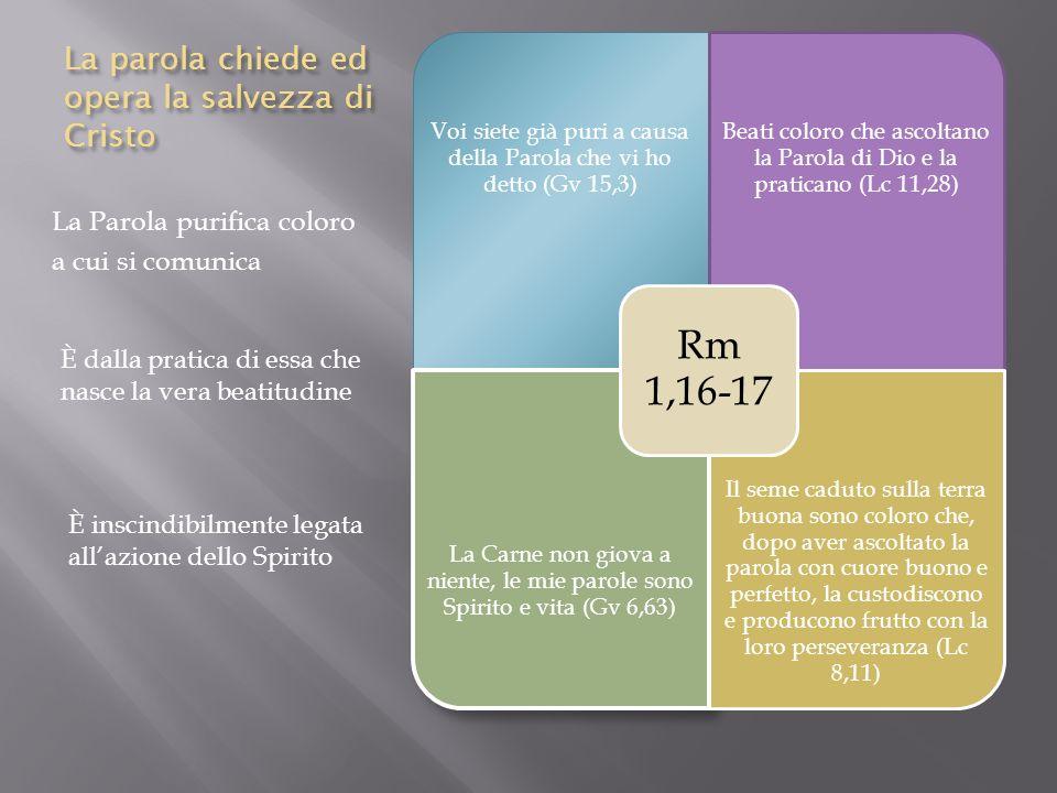 La parola chiede ed opera la salvezza di Cristo La Parola purifica coloro a cui si comunica Voi siete già puri a causa della Parola che vi ho detto (G