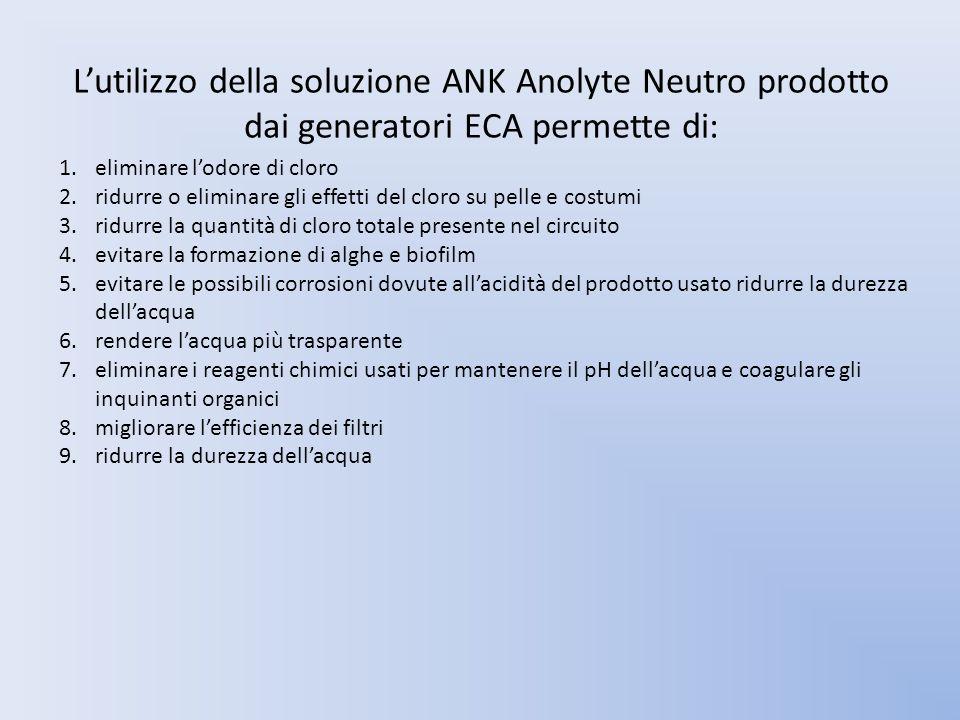 Lutilizzo della soluzione ANK Anolyte Neutro prodotto dai generatori ECA permette di: 1.eliminare lodore di cloro 2.ridurre o eliminare gli effetti de