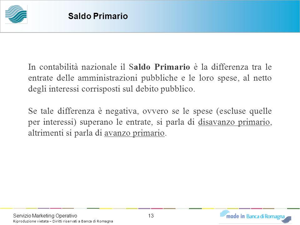 13Servizio Marketing Operativo Riproduzione vietata – Diritti riservati a Banca di Romagna In contabilità nazionale il Saldo Primario è la differenza