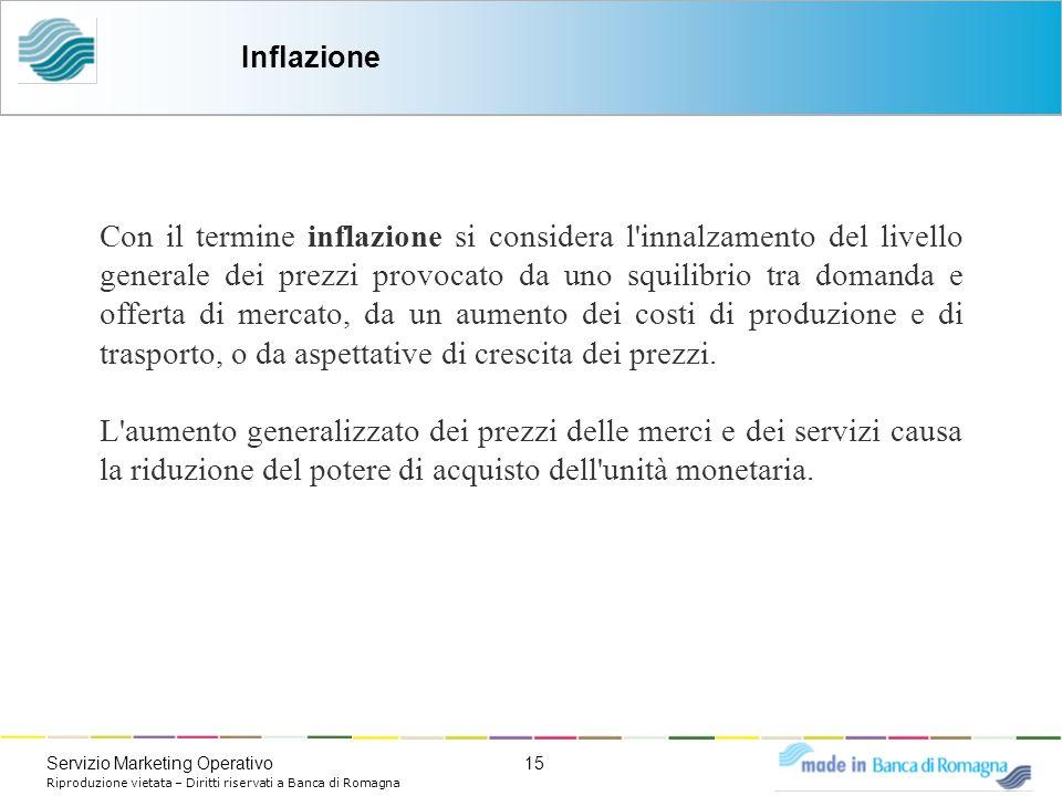 15Servizio Marketing Operativo Riproduzione vietata – Diritti riservati a Banca di Romagna Con il termine inflazione si considera l'innalzamento del l