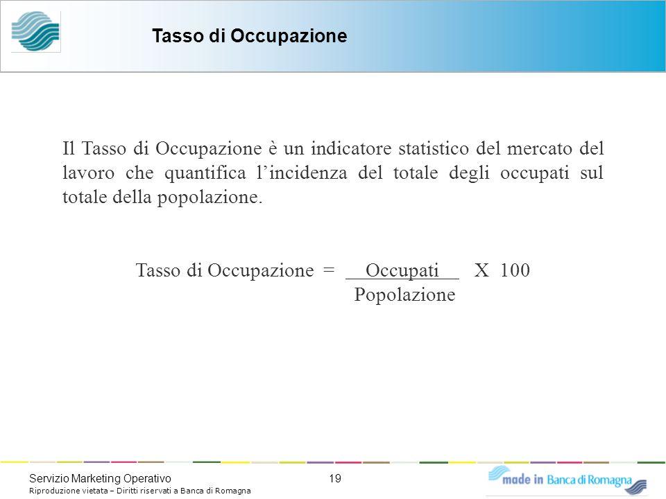 19Servizio Marketing Operativo Riproduzione vietata – Diritti riservati a Banca di Romagna Il Tasso di Occupazione è un indicatore statistico del merc