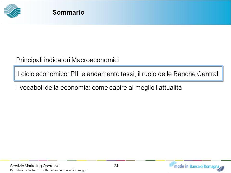 24Servizio Marketing Operativo Riproduzione vietata – Diritti riservati a Banca di Romagna Sommario Principali indicatori Macroeconomici Il ciclo econ