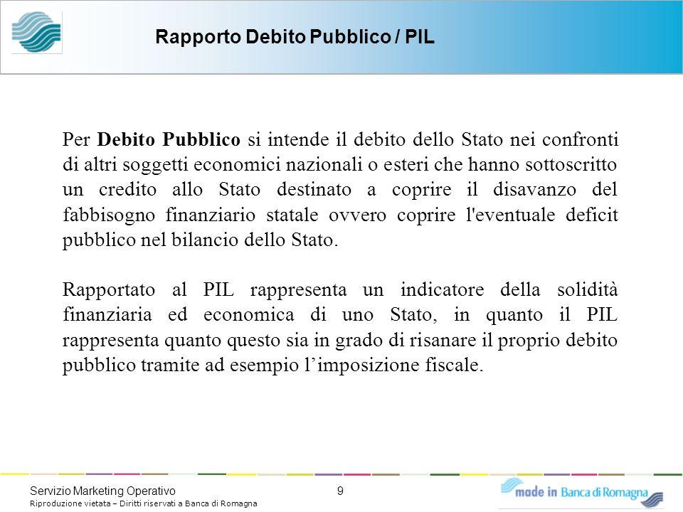 9Servizio Marketing Operativo Riproduzione vietata – Diritti riservati a Banca di Romagna Per Debito Pubblico si intende il debito dello Stato nei con