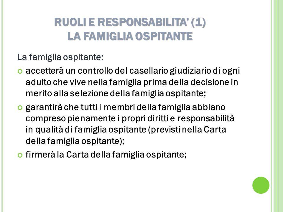 RUOLI E RESPONSABILITA (1) LA FAMIGLIA OSPITANTE La famiglia ospitante: accetterà un controllo del casellario giudiziario di ogni adulto che vive nell