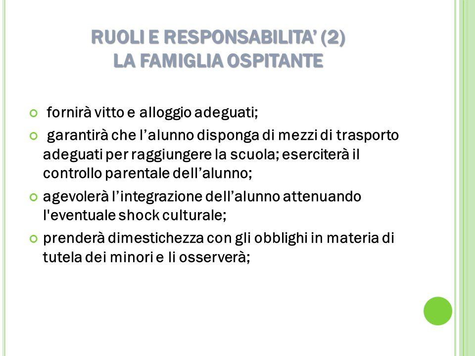 RUOLI E RESPONSABILITA (2) LA FAMIGLIA OSPITANTE fornirà vitto e alloggio adeguati; garantirà che lalunno disponga di mezzi di trasporto adeguati per