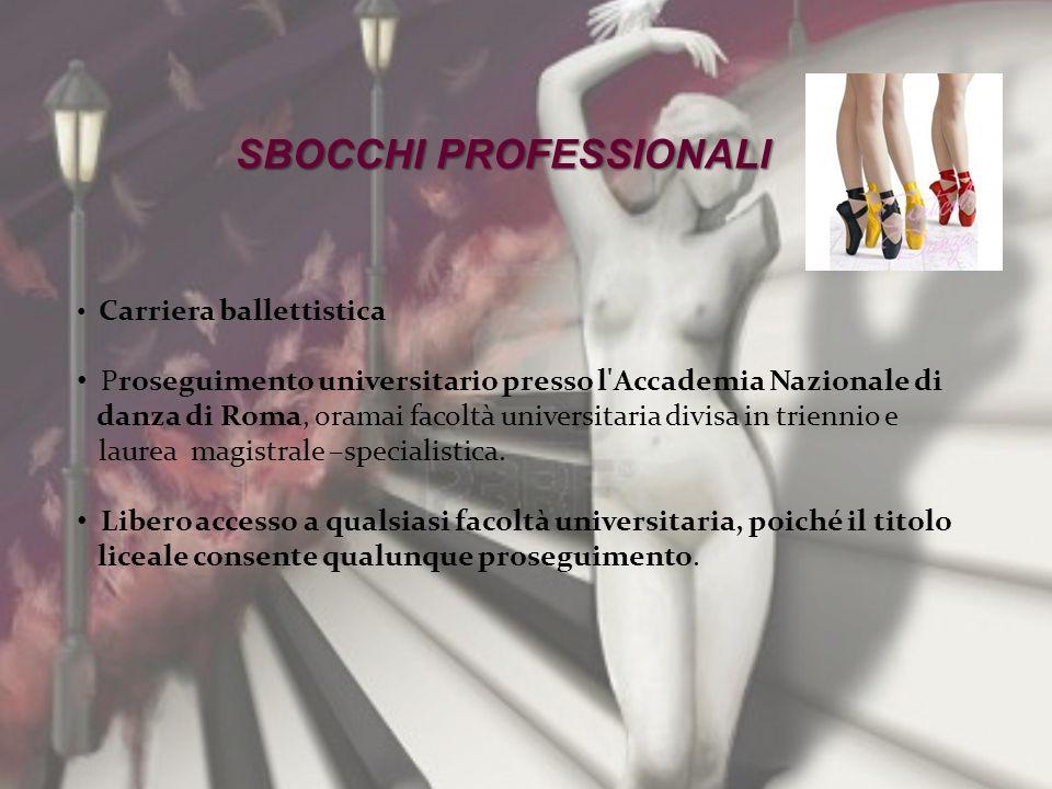 SBOCCHI PROFESSIONALI Carriera ballettistica Proseguimento universitario presso l'Accademia Nazionale di danza di Roma, oramai facoltà universitaria d