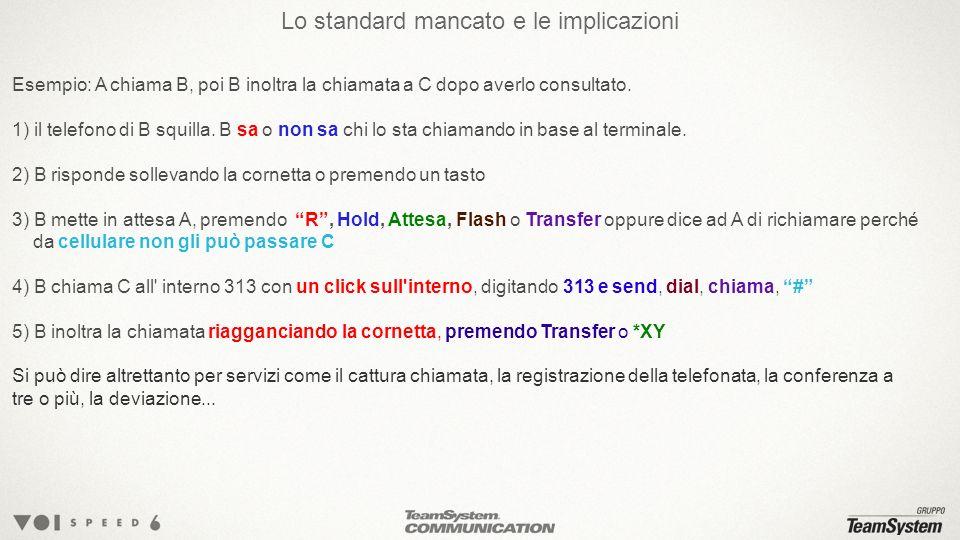 Lo standard mancato e le implicazioni Esempio: A chiama B, poi B inoltra la chiamata a C dopo averlo consultato.