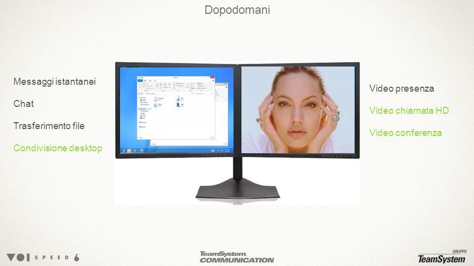 Dopodomani Messaggi istantanei Chat Trasferimento file Condivisione desktop Video presenza Video chiamata HD Video conferenza