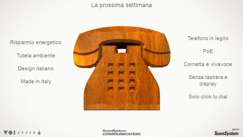 La prossima settimana Risparmio energetico Tutela ambiente Design italiano Made in Italy Telefono in legno PoE Cornetta e vivavoce Senza tastiera e display Solo click to dial