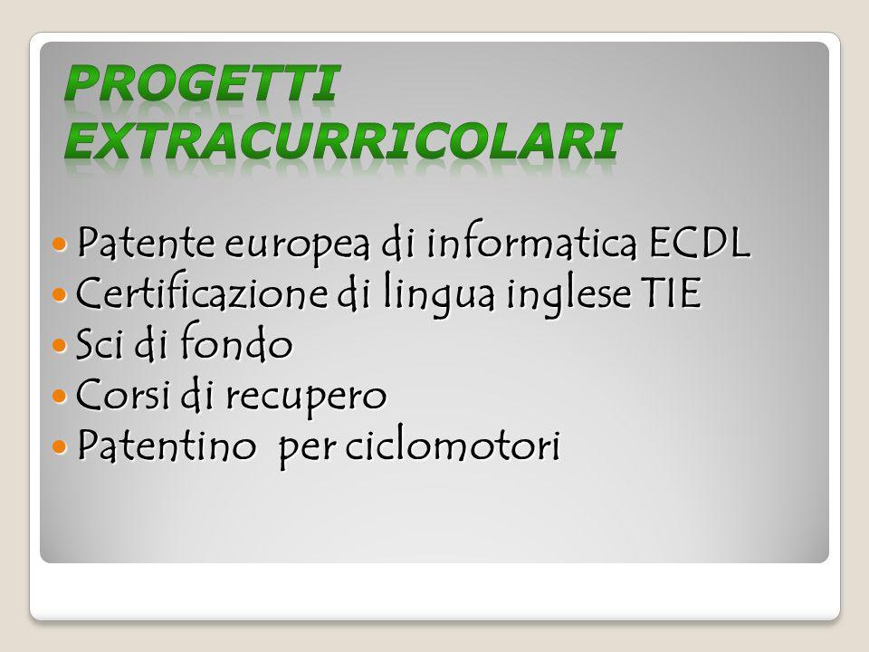 Patente europea di informatica ECDL Patente europea di informatica ECDL Certificazione di lingua inglese TIE Certificazione di lingua inglese TIE Sci di fondo Sci di fondo Corsi di recupero Corsi di recupero Patentino per ciclomotori Patentino per ciclomotori