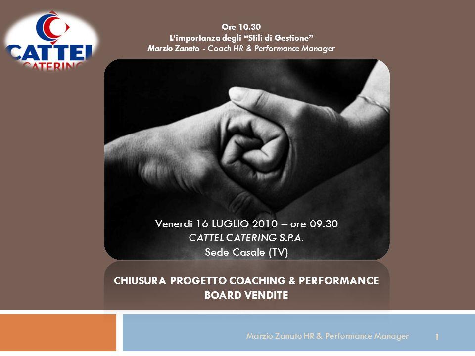 Ore 10.30 Limportanza degli Stili di Gestione Marzio Zanato - Coach HR & Performance Manager 1 Marzio Zanato HR & Performance Manager Venerdì 16 LUGLIO 2010 – ore 09.30 CATTEL CATERING S.P.A.
