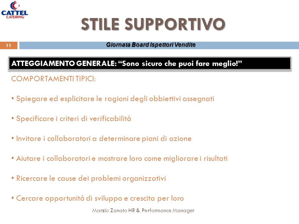 Marzio Zanato HR & Performance Manager 11 Giornata Board Ispettori Vendite STILE SUPPORTIVO ATTEGGIAMENTO GENERALE: Sono sicuro che puoi fare meglio!