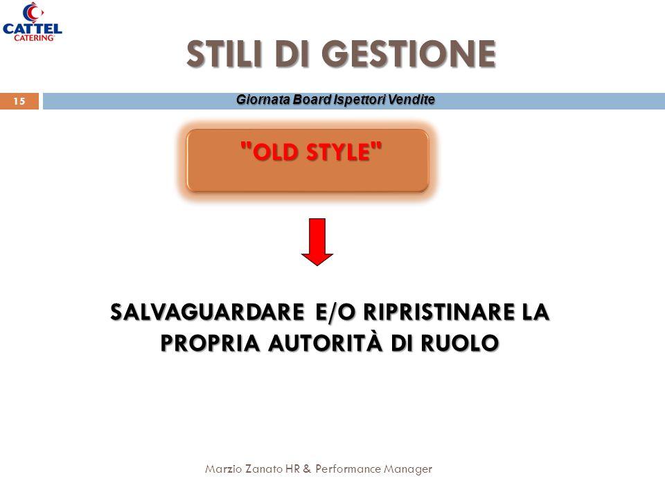 Marzio Zanato HR & Performance Manager 15 Giornata Board Ispettori Vendite STILI DI GESTIONE