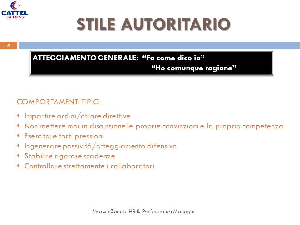 Marzio Zanato HR & Performance Manager 3 STILE AUTORITARIO ATTEGGIAMENTO GENERALE: Fa come dico io Ho comunque ragione ATTEGGIAMENTO GENERALE: Fa come