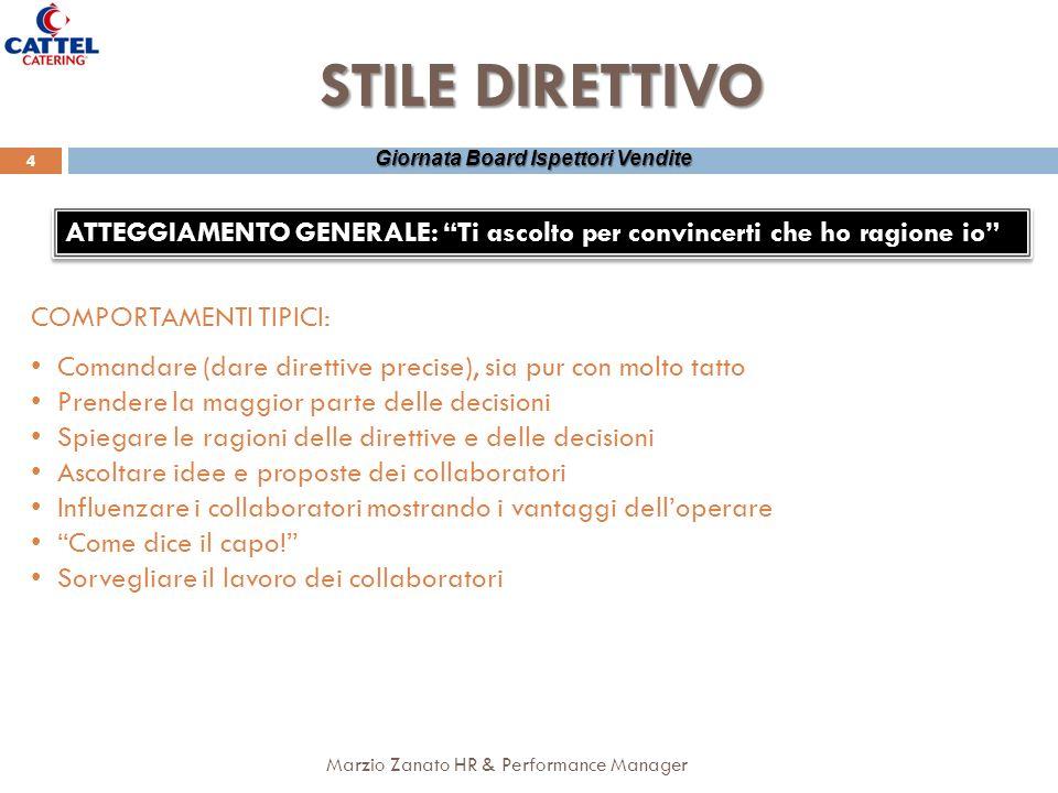 Marzio Zanato HR & Performance Manager 4 Giornata Board Ispettori Vendite STILE DIRETTIVO ATTEGGIAMENTO GENERALE: Ti ascolto per convincerti che ho ra