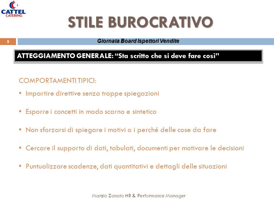 Marzio Zanato HR & Performance Manager 5 Giornata Board Ispettori Vendite STILE BUROCRATIVO ATTEGGIAMENTO GENERALE: Sta scritto che si deve fare così