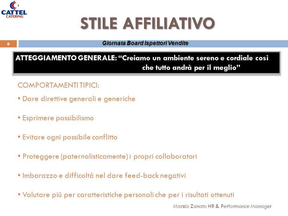 Marzio Zanato HR & Performance Manager 6 Giornata Board Ispettori Vendite STILE AFFILIATIVO ATTEGGIAMENTO GENERALE: Creiamo un ambiente sereno e cordi