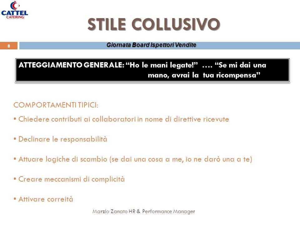 8 Marzio Zanato HR & Performance Manager Giornata Board Ispettori Vendite STILE COLLUSIVO ATTEGGIAMENTO GENERALE: Ho le mani legate! …. Se mi dai una
