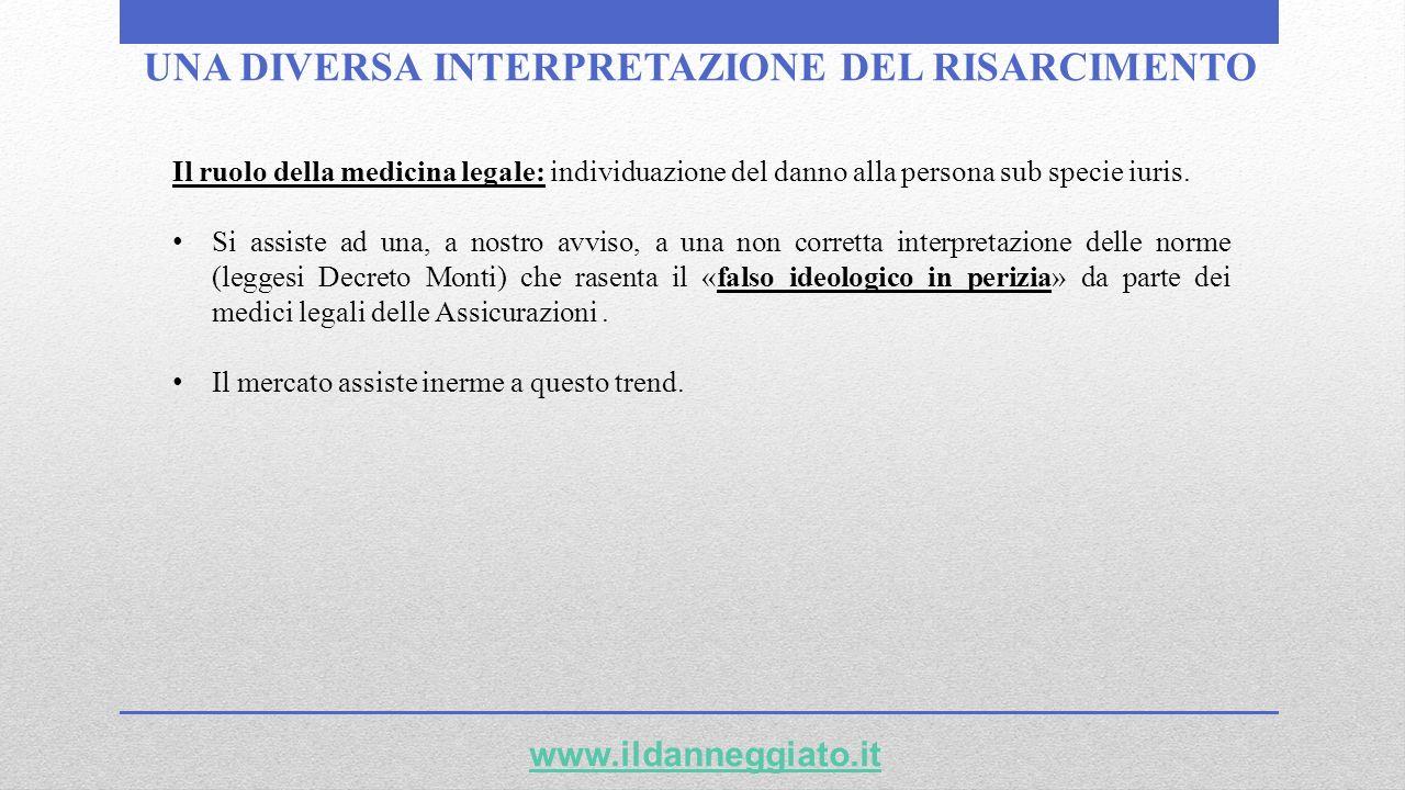 UNA DIVERSA INTERPRETAZIONE DEL RISARCIMENTO www.ildanneggiato.it Il ruolo della medicina legale: individuazione del danno alla persona sub specie iur