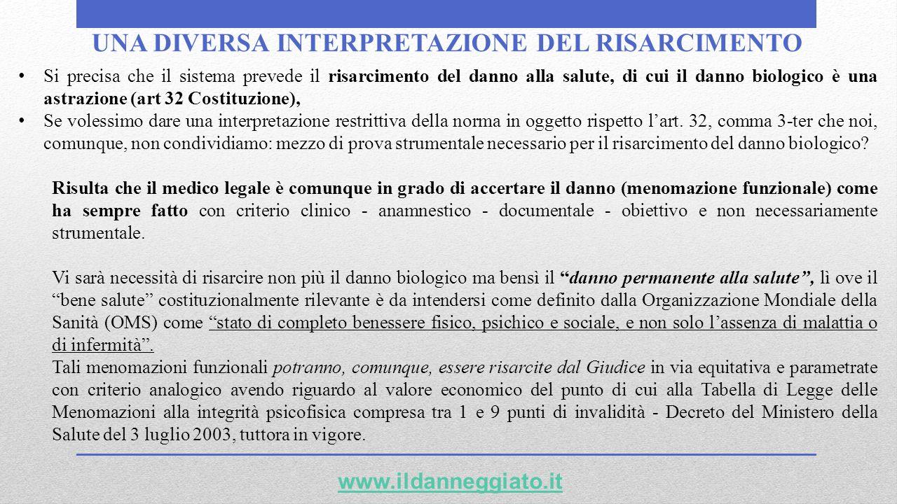 UNA DIVERSA INTERPRETAZIONE DEL RISARCIMENTO www.ildanneggiato.it Si precisa che il sistema prevede il risarcimento del danno alla salute, di cui il d