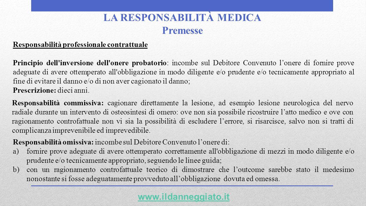 LA RESPONSABILITÀ MEDICA Premesse Responsabilità professionale contrattuale Principio dell'inversione dell'onere probatorio: incombe sul Debitore Conv