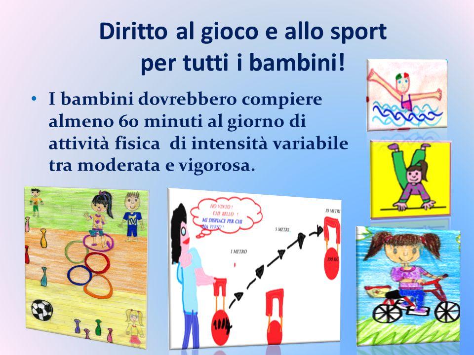 Diritto al gioco e allo sport per tutti i bambini! I bambini dovrebbero compiere almeno 60 minuti al giorno di attività fisica di intensità variabile