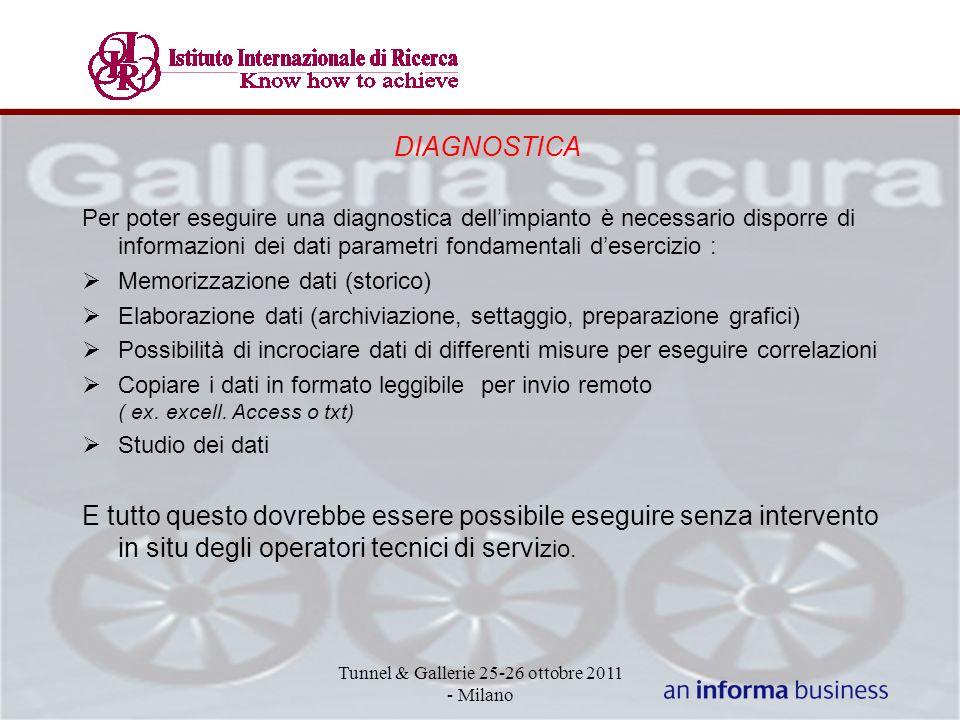 DIAGNOSTICA Per poter eseguire una diagnostica dellimpianto è necessario disporre di informazioni dei dati parametri fondamentali desercizio : Memoriz