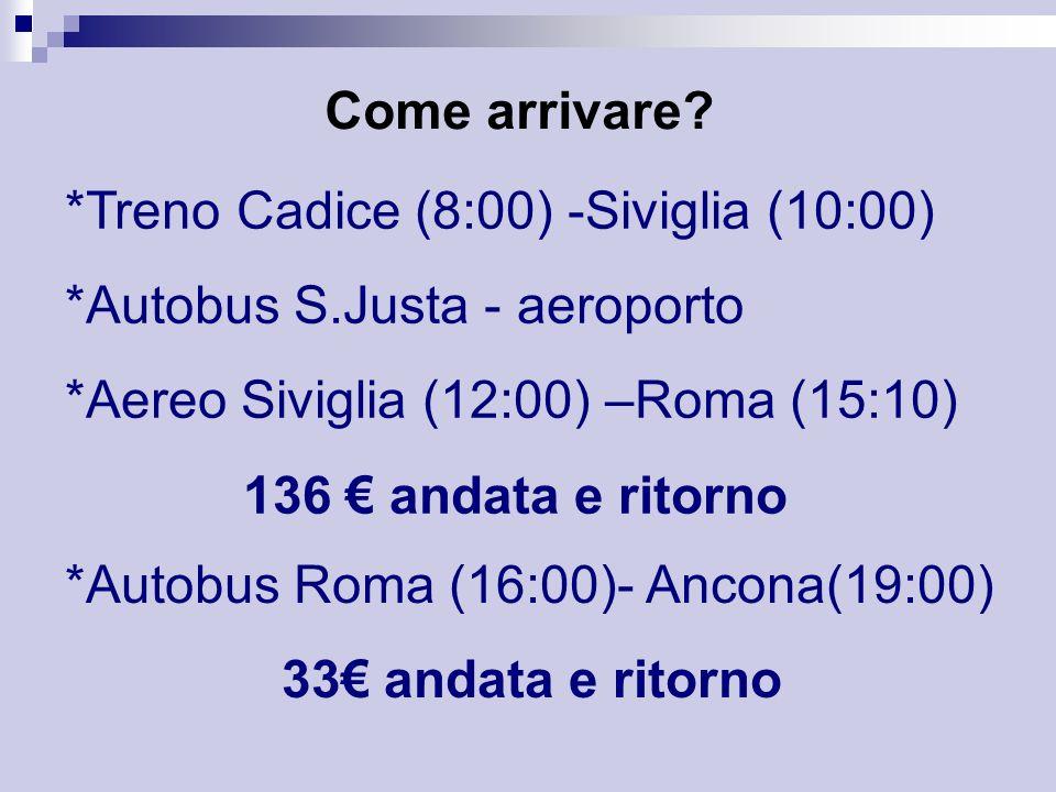 Come arrivare? *Treno Cadice (8:00) -Siviglia (10:00) *Autobus S.Justa - aeroporto *Aereo Siviglia (12:00) –Roma (15:10) 136 andata e ritorno *Autobus