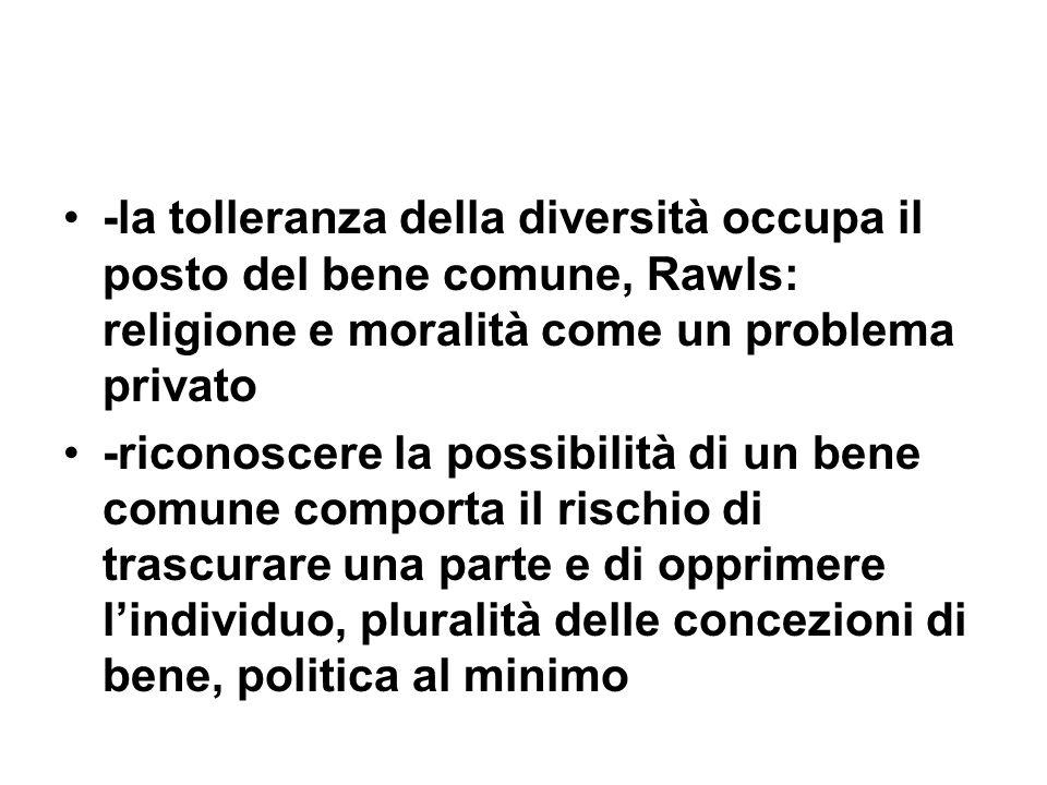 -la tolleranza della diversità occupa il posto del bene comune, Rawls: religione e moralità come un problema privato -riconoscere la possibilità di un