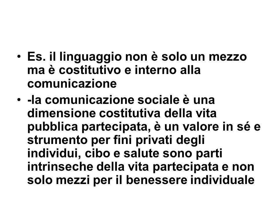 Es. il linguaggio non è solo un mezzo ma è costitutivo e interno alla comunicazione -la comunicazione sociale è una dimensione costitutiva della vita