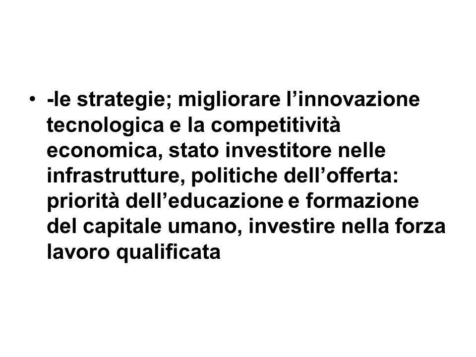 -le strategie; migliorare linnovazione tecnologica e la competitività economica, stato investitore nelle infrastrutture, politiche dellofferta: priori