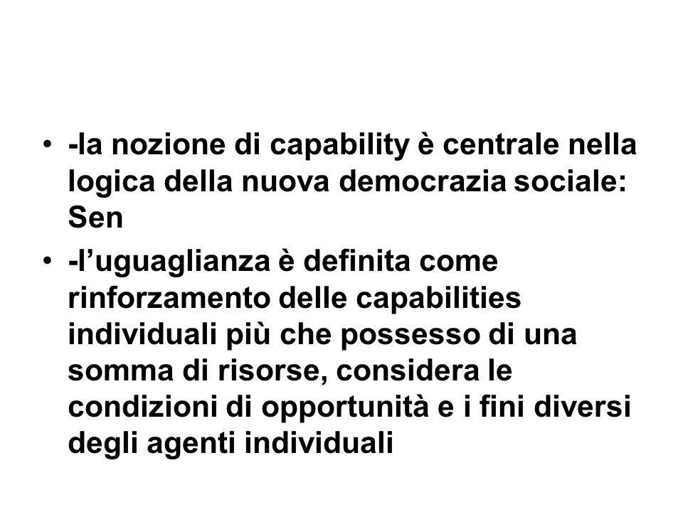 -la nozione di capability è centrale nella logica della nuova democrazia sociale: Sen -luguaglianza è definita come rinforzamento delle capabilities i