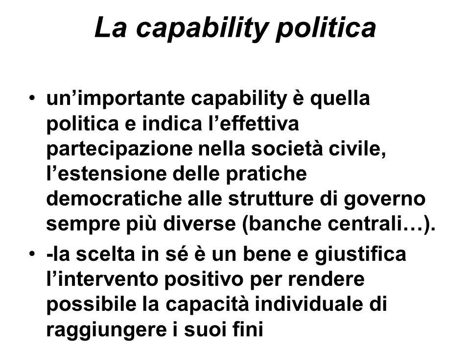La capability politica unimportante capability è quella politica e indica leffettiva partecipazione nella società civile, lestensione delle pratiche d