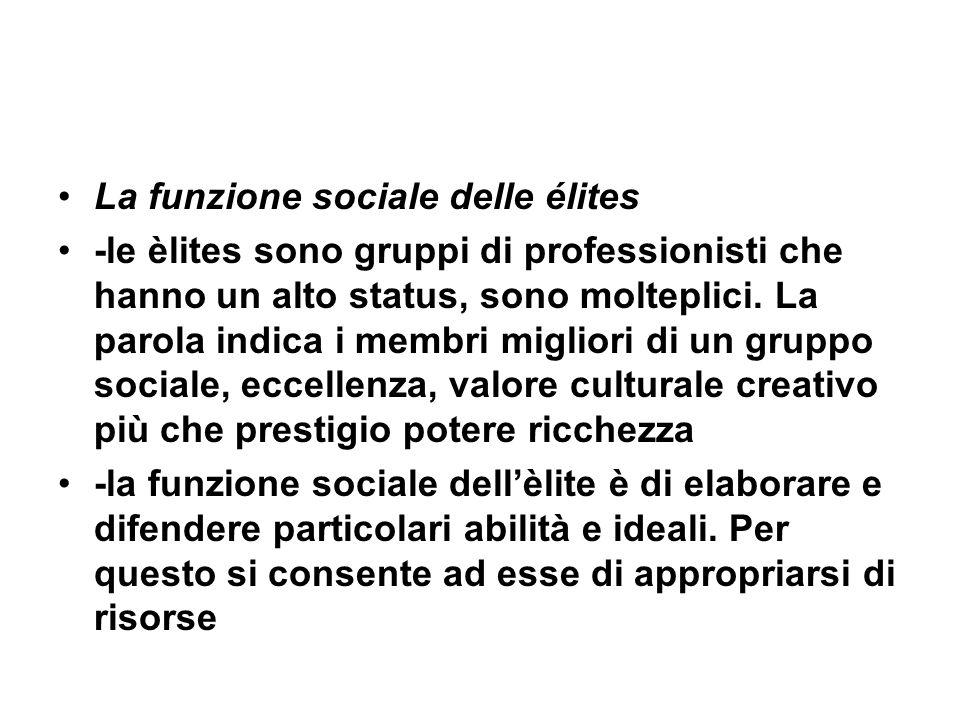 La funzione sociale delle élites -le èlites sono gruppi di professionisti che hanno un alto status, sono molteplici. La parola indica i membri miglior
