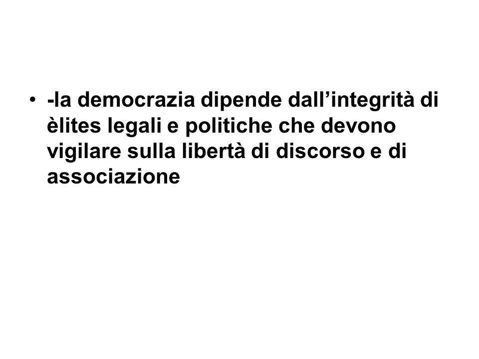 -la democrazia dipende dallintegrità di èlites legali e politiche che devono vigilare sulla libertà di discorso e di associazione