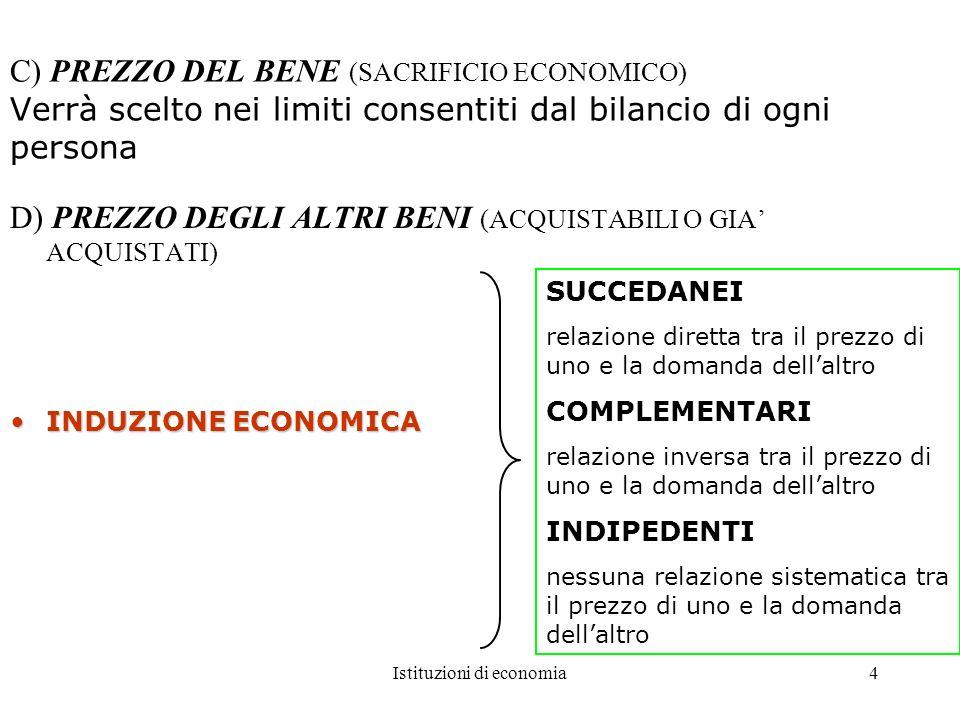 Istituzioni di economia4 C) PREZZO DEL BENE (SACRIFICIO ECONOMICO) Verrà scelto nei limiti consentiti dal bilancio di ogni persona D) PREZZO DEGLI ALT