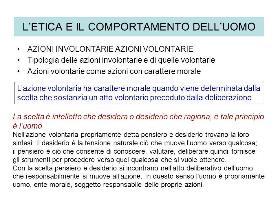 LETICA E IL COMPORTAMENTO DELLUOMO AZIONI INVOLONTARIE AZIONI VOLONTARIE Tipologia delle azioni involontarie e di quelle volontarie Azioni volontarie