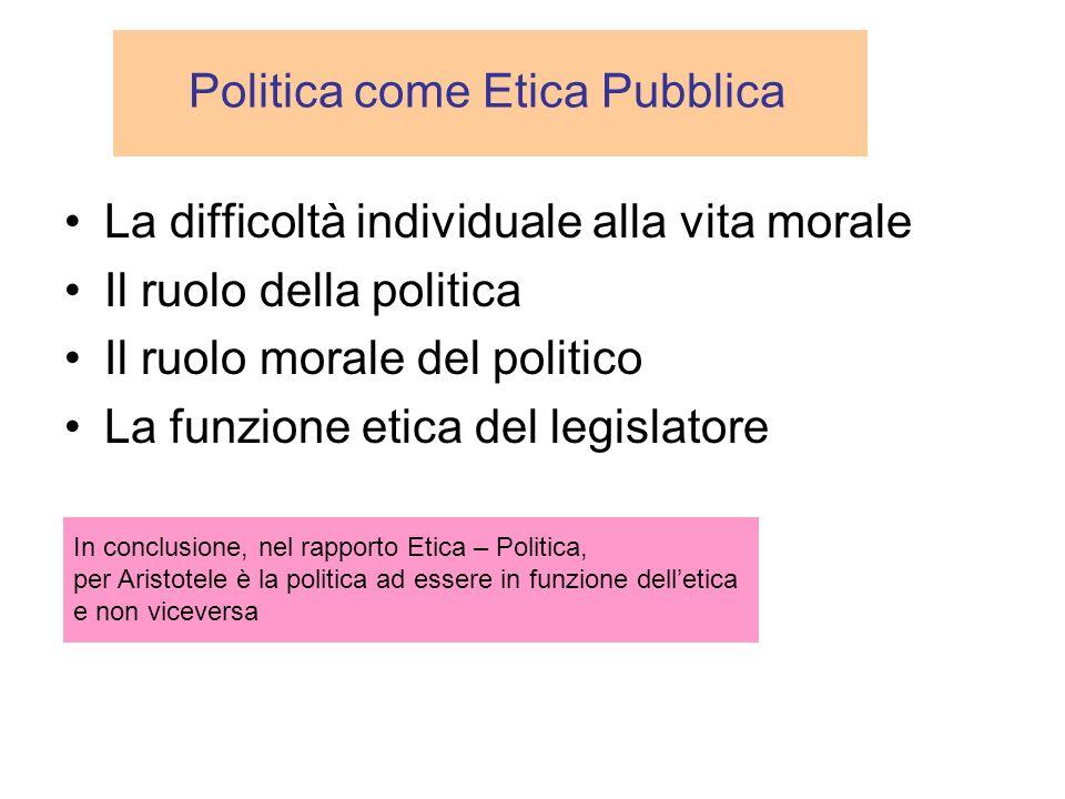 Politica come Etica Pubblica La difficoltà individuale alla vita morale Il ruolo della politica Il ruolo morale del politico La funzione etica del leg