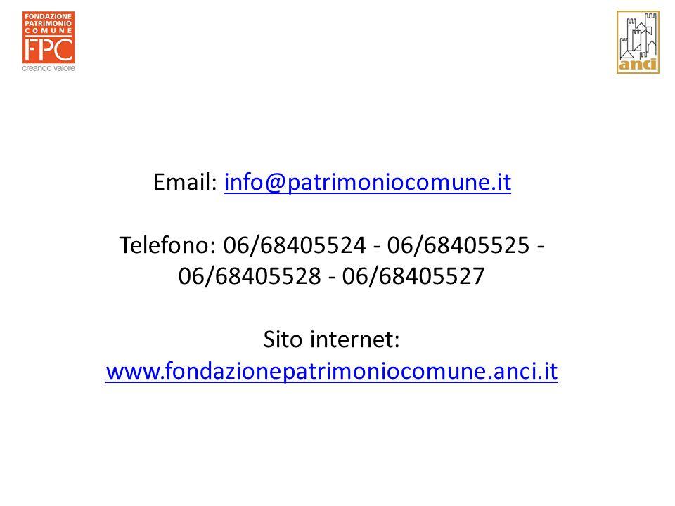 Email: info@patrimoniocomune.itinfo@patrimoniocomune.it Telefono: 06/68405524 - 06/68405525 - 06/68405528 - 06/68405527 Sito internet: www.fondazionepatrimoniocomune.anci.it www.fondazionepatrimoniocomune.anci.it