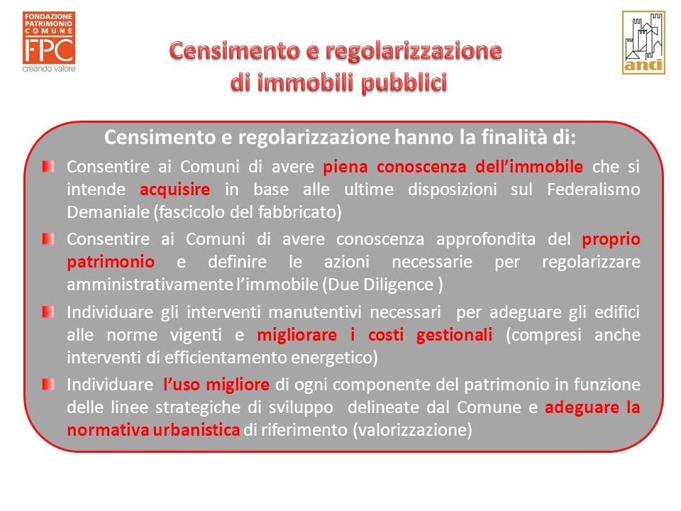 Censimento e regolarizzazione hanno la finalità di: Consentire ai Comuni di avere piena conoscenza dellimmobile che si intende acquisire in base alle