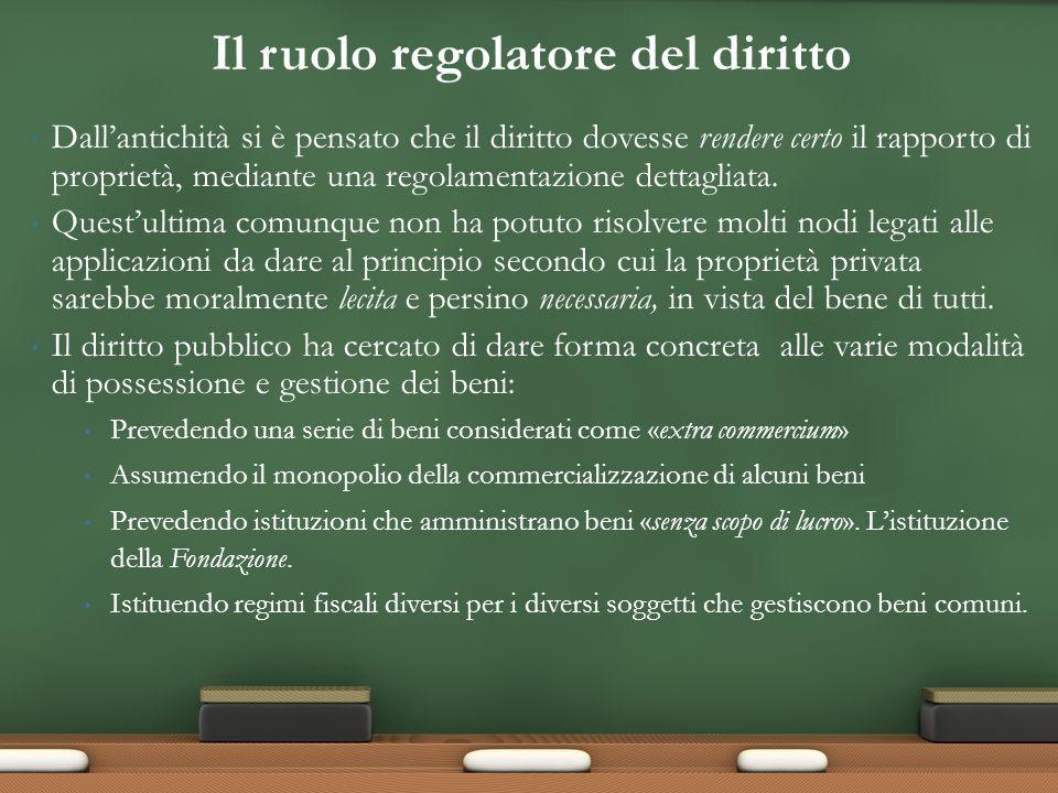 Dallantichità si è pensato che il diritto dovesse rendere certo il rapporto di proprietà, mediante una regolamentazione dettagliata.