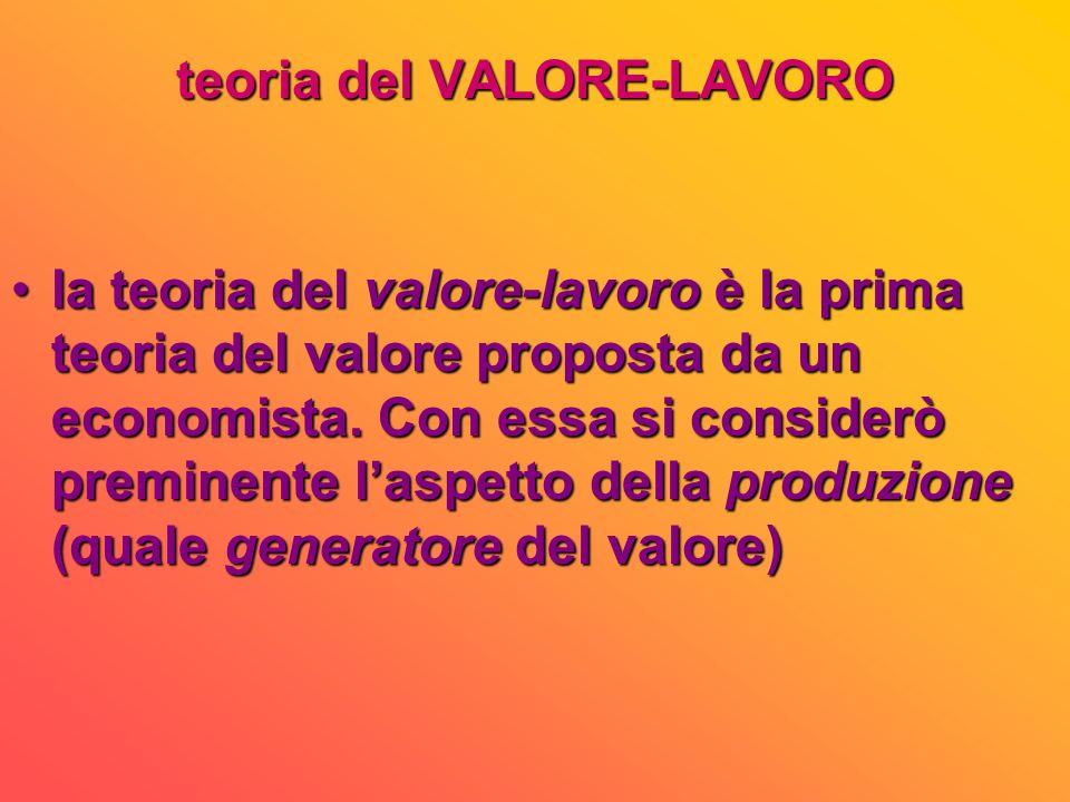 VALORE e UTILITA: Ricardo distinse, senza ambiguità, i due concetti, affermando che non esiste rapporto tra lutilità totale ed il valore: se lutilità