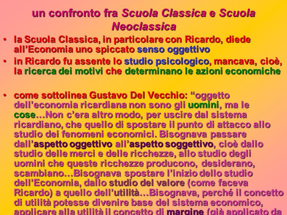 esponenti della Scuola Neoclassica: SCUOLA INGLESE: > William Stanley Jevons (1835 - 1882) SCUOLA VIENNESE (Scuola psicologica): > Karl Menger (1840 -