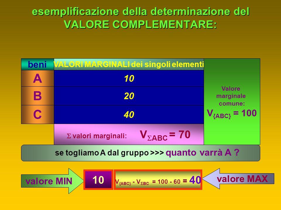 intorno al concetto di VALORE COMPLEMENTARE: > 1° caso) quando 1 elemento del gruppo non può aver altro uso al di fuori del gruppo stesso: il singolo